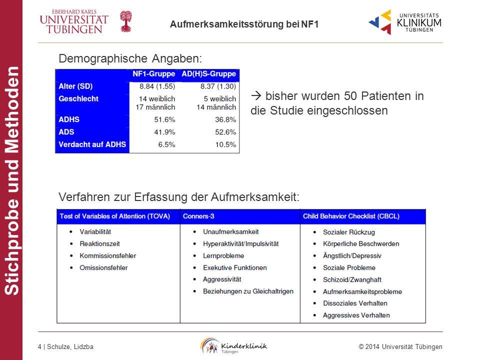 Aufmerksamkeitsstörung bei NF1 4 | Schulze, Lidzba © 2014 Universität Tübingen AD(H)S bei NF1 Stichprobe und Methoden Demographische Angaben: Verfahre