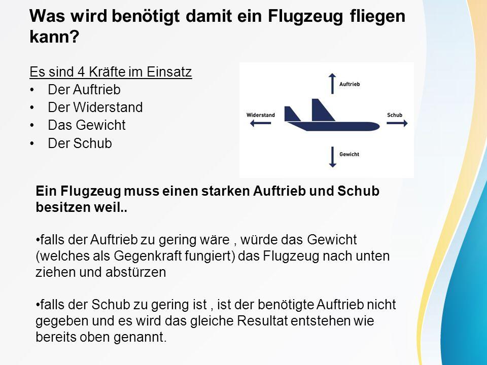 Was wird benötigt damit ein Flugzeug fliegen kann? Es sind 4 Kräfte im Einsatz Der Auftrieb Der Widerstand Das Gewicht Der Schub Ein Flugzeug muss ein