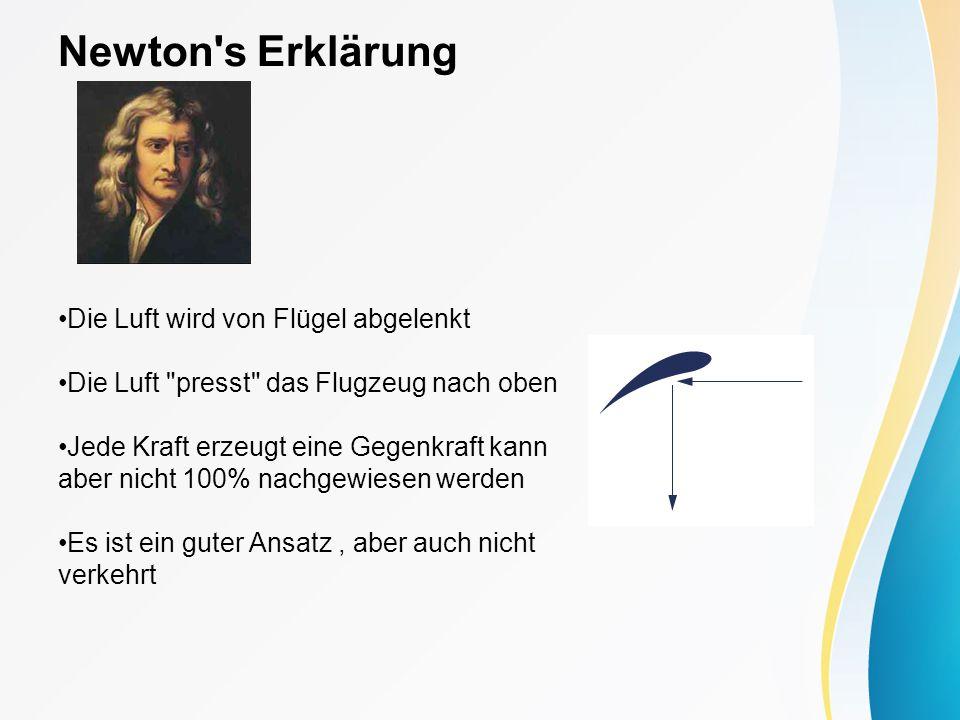 Bernoulli s Erklärung Bernoulli-Gleichung Ein Unterdruck entsteht, wenn ein Medium an einem Objekt schnell vorbeiströmt
