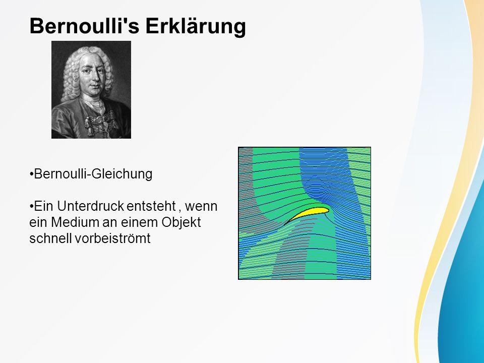 Bernoulli's Erklärung Bernoulli-Gleichung Ein Unterdruck entsteht, wenn ein Medium an einem Objekt schnell vorbeiströmt