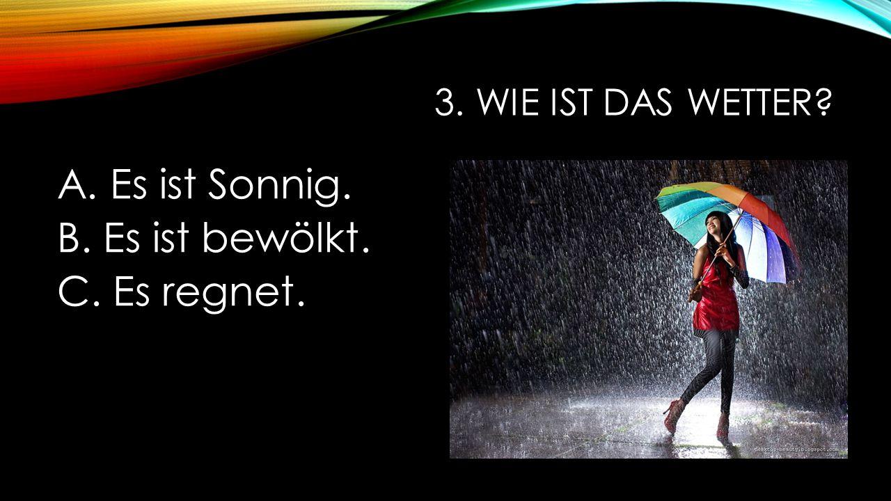 3. WIE IST DAS WETTER? A. Es ist Sonnig. B. Es ist bewölkt. C. Es regnet.