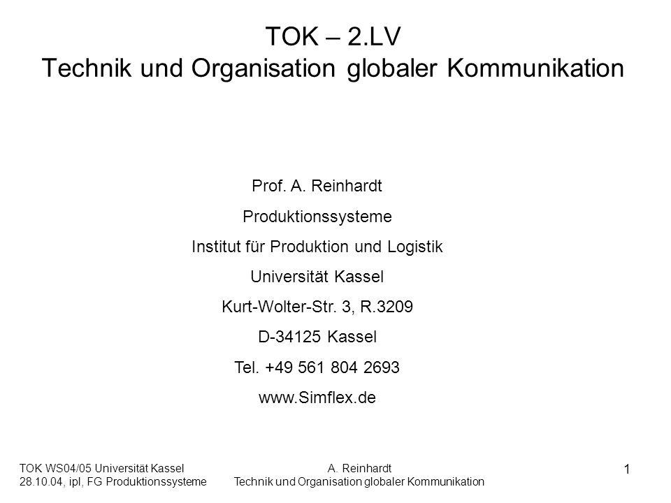 TOK WS04/05 Universität Kassel 28.10.04, ipl, FG Produktionssysteme A. Reinhardt Technik und Organisation globaler Kommunikation 1 TOK – 2.LV Technik