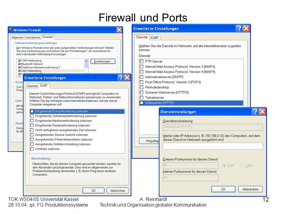 TOK WS04/05 Universität Kassel 28.10.04, ipl, FG Produktionssysteme A. Reinhardt Technik und Organisation globaler Kommunikation 12 Firewall und Ports