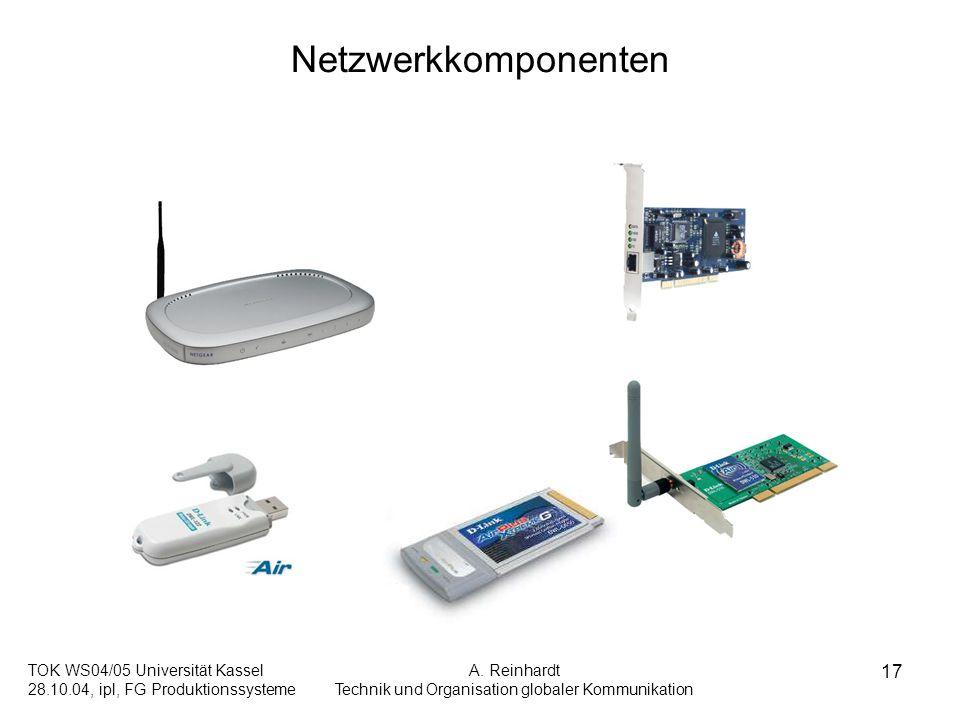 TOK WS04/05 Universität Kassel 28.10.04, ipl, FG Produktionssysteme A. Reinhardt Technik und Organisation globaler Kommunikation 17 Netzwerkkomponente