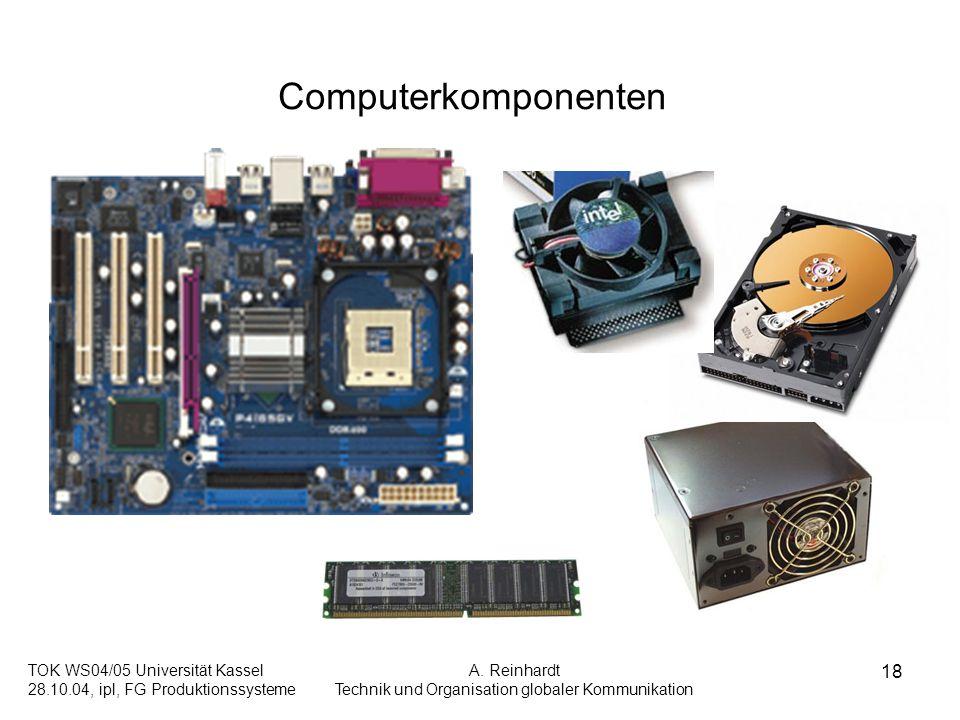 TOK WS04/05 Universität Kassel 28.10.04, ipl, FG Produktionssysteme A. Reinhardt Technik und Organisation globaler Kommunikation 18 Computerkomponente