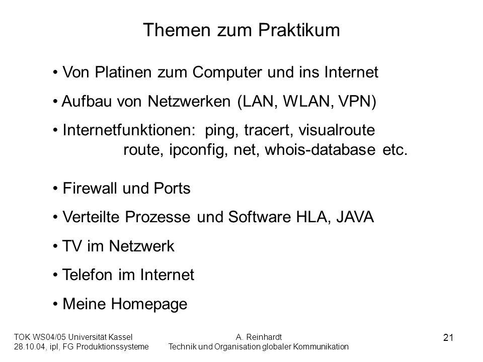 TOK WS04/05 Universität Kassel 28.10.04, ipl, FG Produktionssysteme A. Reinhardt Technik und Organisation globaler Kommunikation 21 Themen zum Praktik