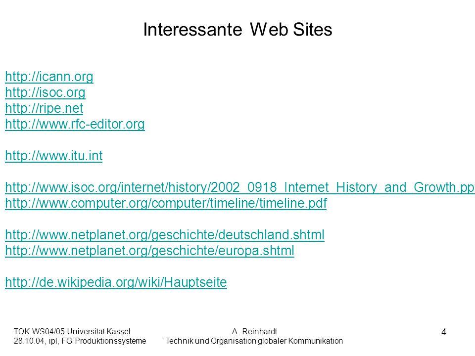 TOK WS04/05 Universität Kassel 28.10.04, ipl, FG Produktionssysteme A. Reinhardt Technik und Organisation globaler Kommunikation 4 Interessante Web Si