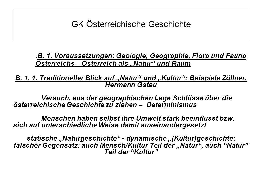 """GK Österreichische Geschichte ● B. 1. Voraussetzungen: Geologie, Geographie, Flora und Fauna Österreichs – Österreich als """"Natur"""" und Raum B. 1. 1. Tr"""