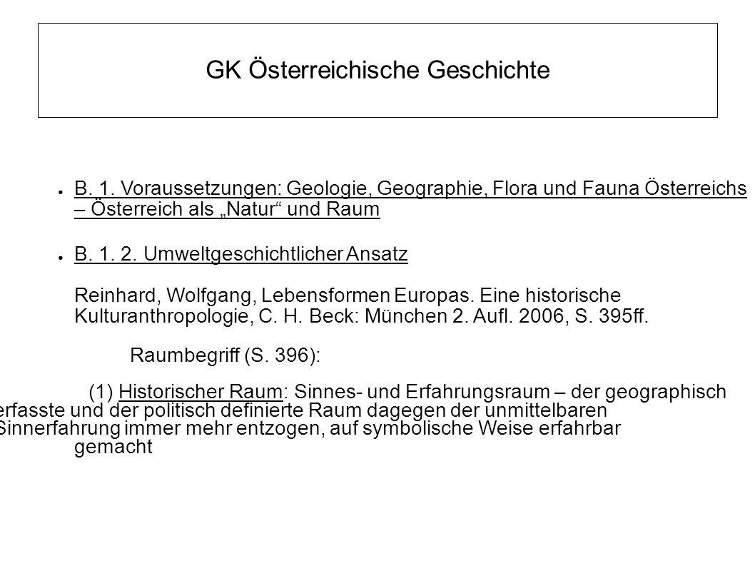 """GK Österreichische Geschichte ● B. 1. Voraussetzungen: Geologie, Geographie, Flora und Fauna Österreichs – Österreich als """"Natur"""" und Raum ● B. 1. 2."""
