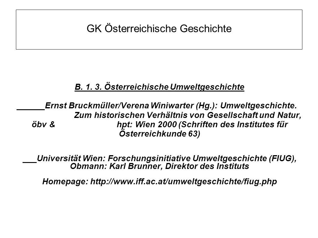 GK Österreichische Geschichte B. 1. 3. Österreichische Umweltgeschichte Ernst Bruckmüller/Verena Winiwarter (Hg.): Umweltgeschichte. Zum historischen