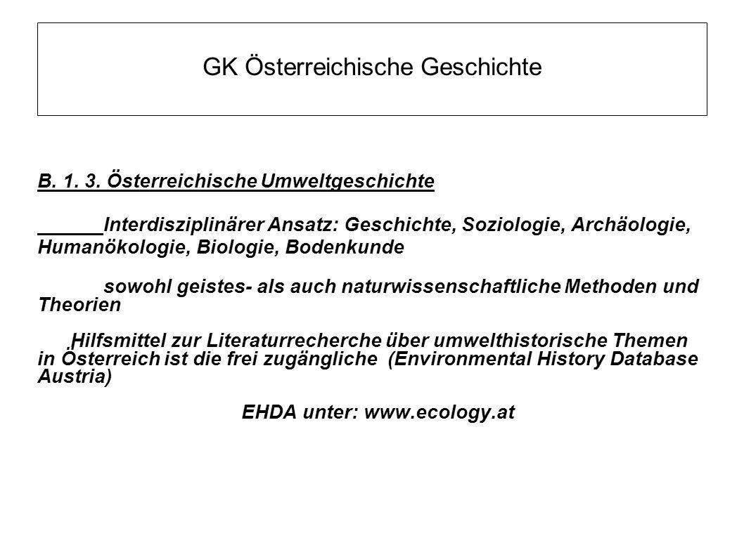 GK Österreichische Geschichte B. 1. 3. Österreichische Umweltgeschichte Interdisziplinärer Ansatz: Geschichte, Soziologie, Archäologie, Humanökologie,