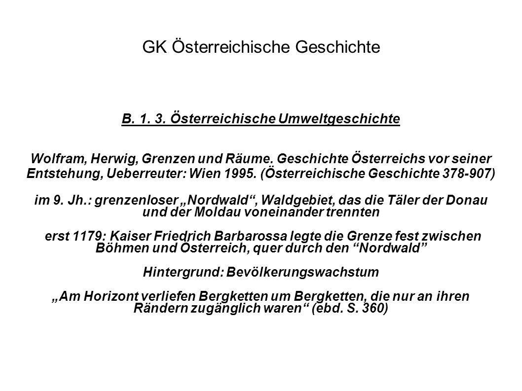 GK Österreichische Geschichte B. 1. 3. Österreichische Umweltgeschichte Wolfram, Herwig, Grenzen und Räume. Geschichte Österreichs vor seiner Entstehu