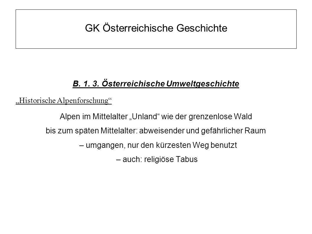 """GK Österreichische Geschichte B. 1. 3. Österreichische Umweltgeschichte """"Historische Alpenforschung"""" Alpen im Mittelalter """"Unland"""" wie der grenzenlose"""