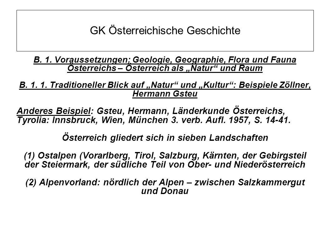 """GK Österreichische Geschichte B. 1. Voraussetzungen: Geologie, Geographie, Flora und Fauna Österreichs – Österreich als """"Natur"""" und Raum B. 1. 1. Trad"""