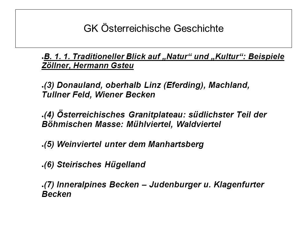 """GK Österreichische Geschichte ● B. 1. 1. Traditioneller Blick auf """"Natur"""" und """"Kultur"""": Beispiele Zöllner, Hermann Gsteu ● (3) Donauland, oberhalb Lin"""