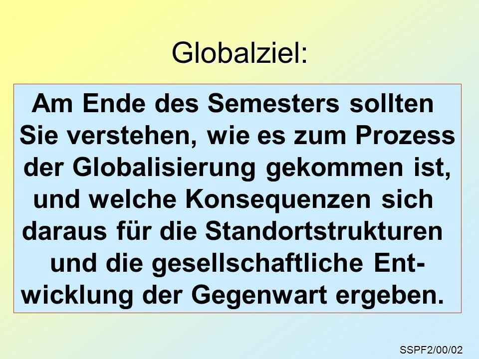 SSPF2/00/02 Globalziel: Am Ende des Semesters sollten Sie verstehen, wie es zum Prozess der Globalisierung gekommen ist, und welche Konsequenzen sich