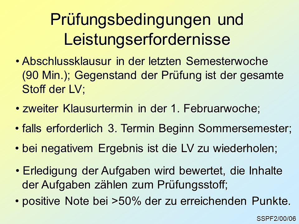 SSPF2/00/06 Prüfungsbedingungen und Leistungserfordernisse Abschlussklausur in der letzten Semesterwoche Abschlussklausur in der letzten Semesterwoche