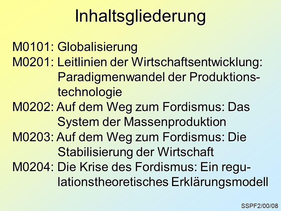 Inhaltsgliederung M0101: Globalisierung M0201: Leitlinien der Wirtschaftsentwicklung: Paradigmenwandel der Produktions- Paradigmenwandel der Produktio
