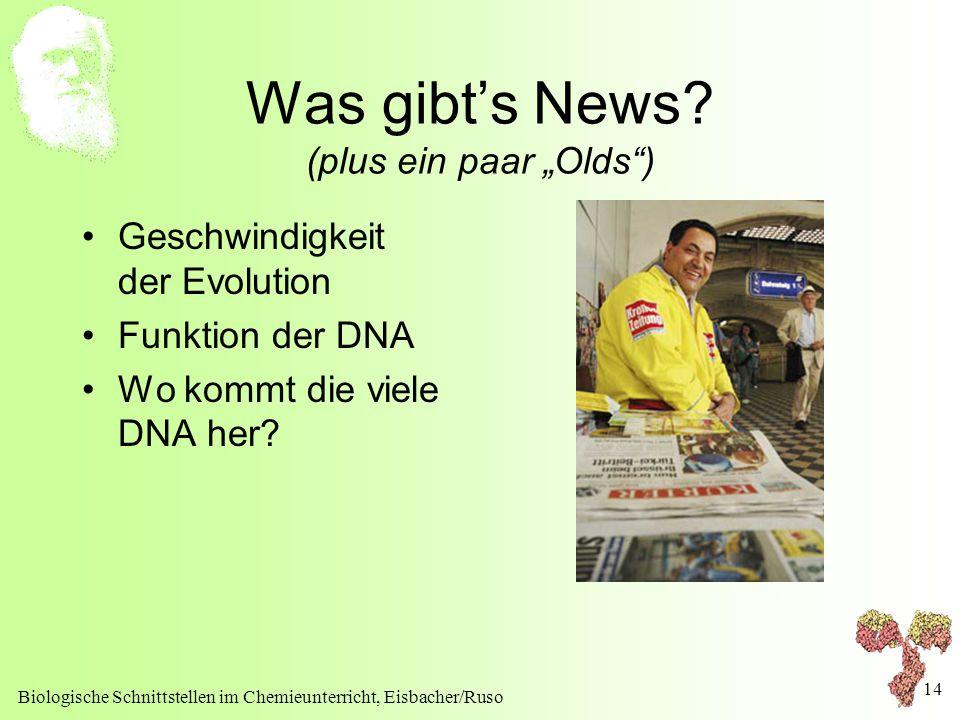 """Biologische Schnittstellen im Chemieunterricht, Eisbacher/Ruso 14 Was gibt's News? (plus ein paar """"Olds"""") Geschwindigkeit der Evolution Funktion der D"""