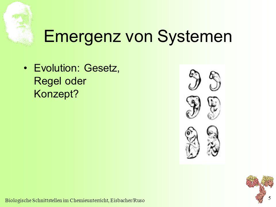 Biologische Schnittstellen im Chemieunterricht, Eisbacher/Ruso 5 Emergenz von Systemen Evolution: Gesetz, Regel oder Konzept?