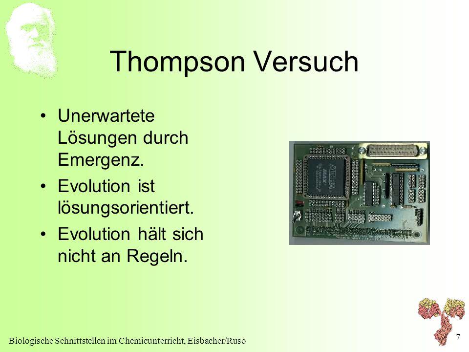 Biologische Schnittstellen im Chemieunterricht, Eisbacher/Ruso 7 Thompson Versuch Unerwartete Lösungen durch Emergenz. Evolution ist lösungsorientiert