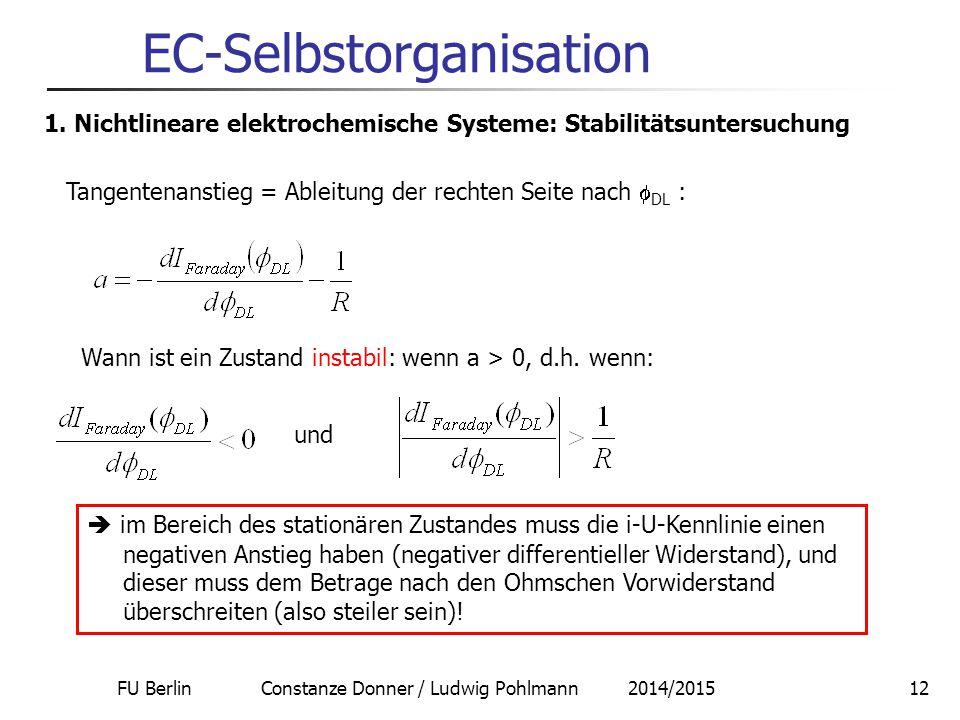 FU Berlin Constanze Donner / Ludwig Pohlmann 2014/201512 EC-Selbstorganisation 1. Nichtlineare elektrochemische Systeme: Stabilitätsuntersuchung Tange
