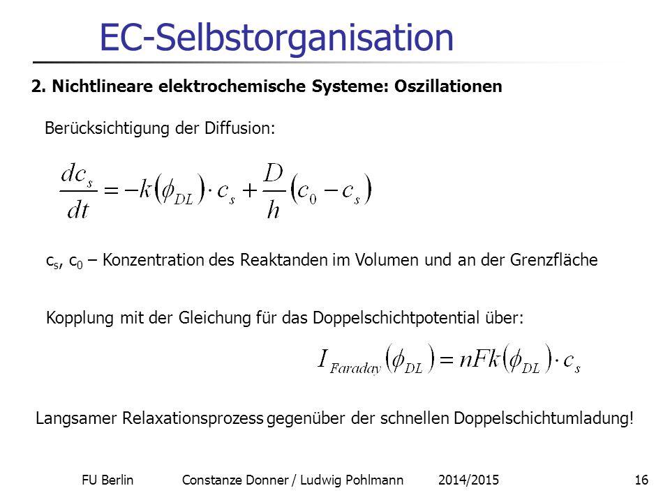 FU Berlin Constanze Donner / Ludwig Pohlmann 2014/201516 EC-Selbstorganisation 2. Nichtlineare elektrochemische Systeme: Oszillationen Berücksichtigun