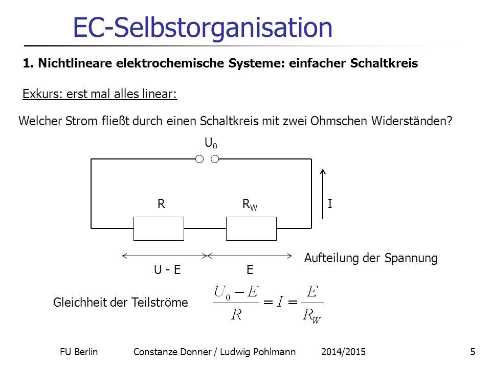 FU Berlin Constanze Donner / Ludwig Pohlmann 2014/20155 EC-Selbstorganisation 1. Nichtlineare elektrochemische Systeme: einfacher Schaltkreis Welcher