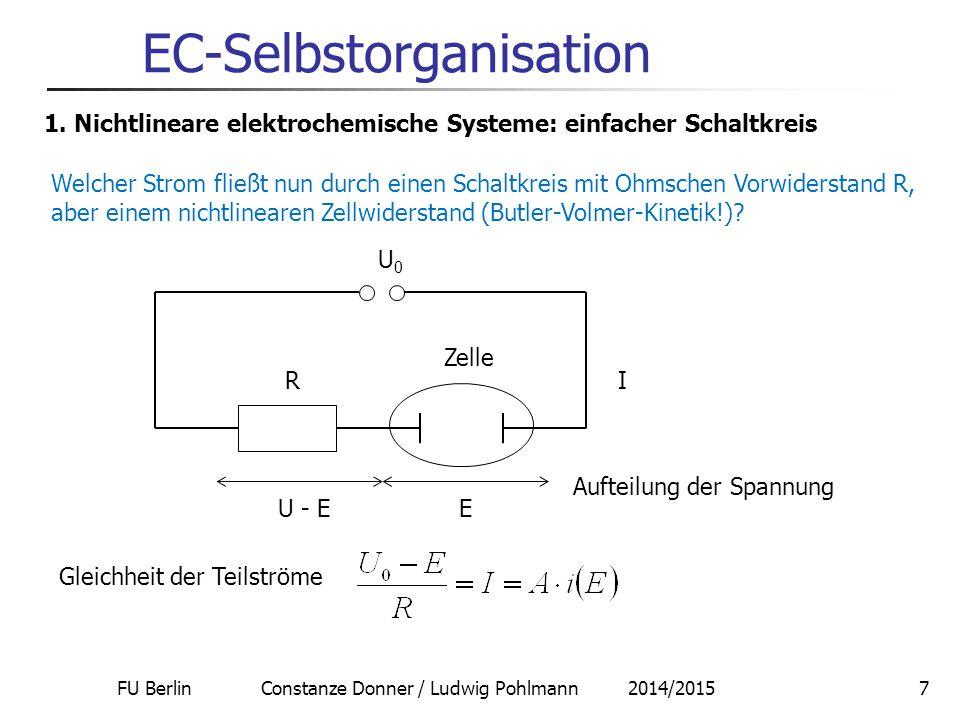 FU Berlin Constanze Donner / Ludwig Pohlmann 2014/20157 EC-Selbstorganisation 1. Nichtlineare elektrochemische Systeme: einfacher Schaltkreis Welcher