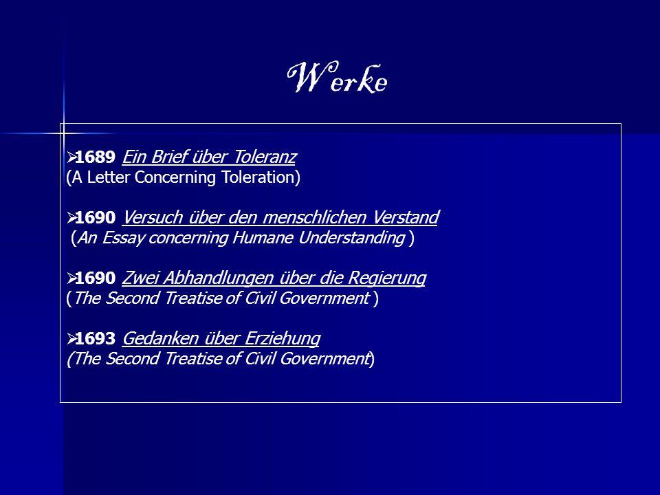 Werke  1689 Ein Brief über Toleranz (A Letter Concerning Toleration)  1690 Versuch über den menschlichen Verstand (An Essay concerning Humane Unders