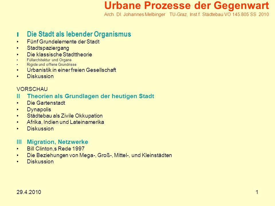 29.4.20101 Urbane Prozesse der Gegenwart Arch.DI.