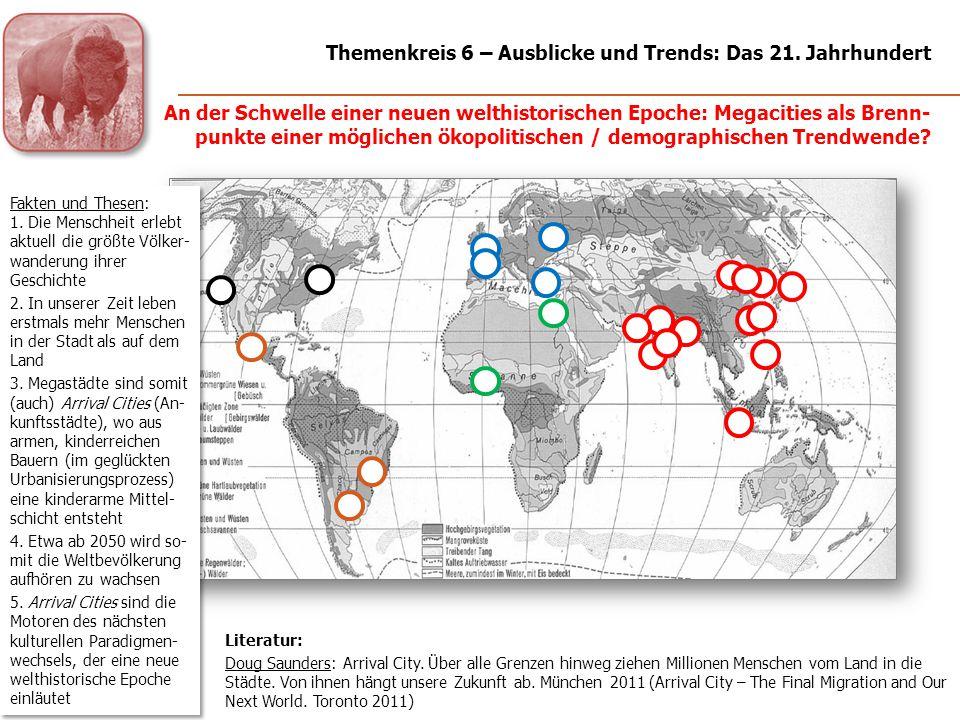 Megastädte mit intensiv agrarisch-industriell genutztem Hinterland um 2030 (hypothe- tisch) Ökopolitische Optionen für eine urbane Welt (1): Megalopolen und deren geordnete / selbstreferenzielle ökonomische Umgebung Themenkreis 6 – Ausblicke und Trends: Das 21.