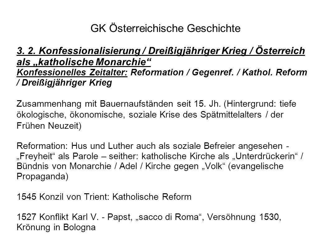 """GK Österreichische Geschichte 3. 2. Konfessionalisierung / Dreißigjähriger Krieg / Österreich als """"katholische Monarchie"""" Konfessionelles Zeitalter: R"""