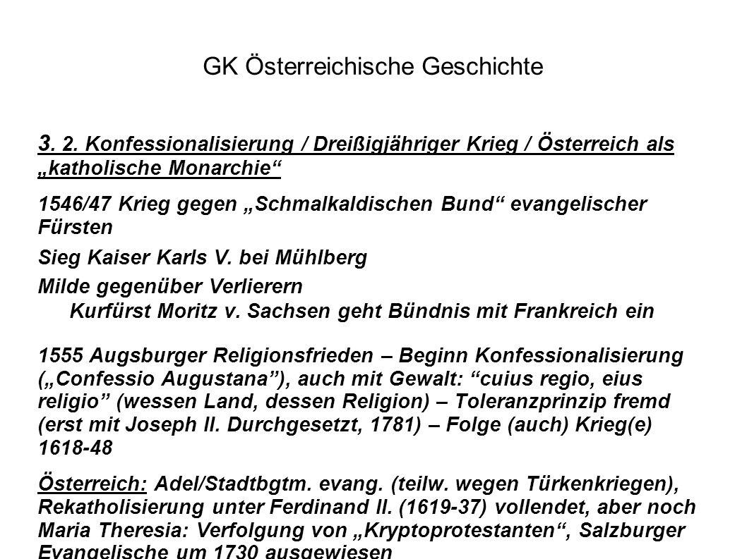 """GK Österreichische Geschichte 3. 2. Konfessionalisierung / Dreißigjähriger Krieg / Österreich als """"katholische Monarchie"""" 1546/47 Krieg gegen """"Schmalk"""