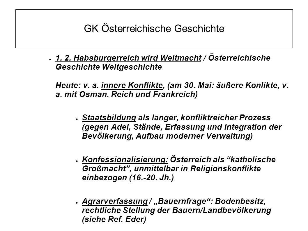 GK Österreichische Geschichte ● 1. 2. Habsburgerreich wird Weltmacht / Österreichische Geschichte Weltgeschichte Heute: v. a. innere Konflikte, (am 30