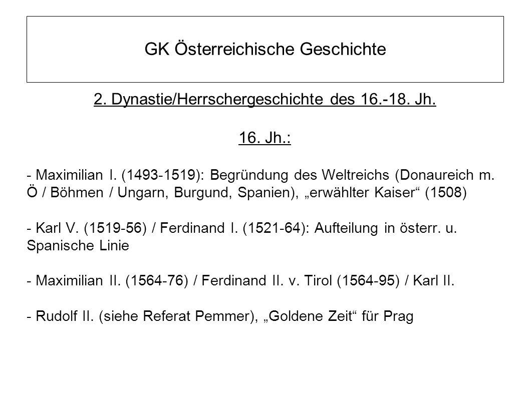 GK Österreichische Geschichte 2. Dynastie/Herrschergeschichte des 16.-18. Jh. 16. Jh.: - Maximilian I. (1493-1519): Begründung des Weltreichs (Donaure