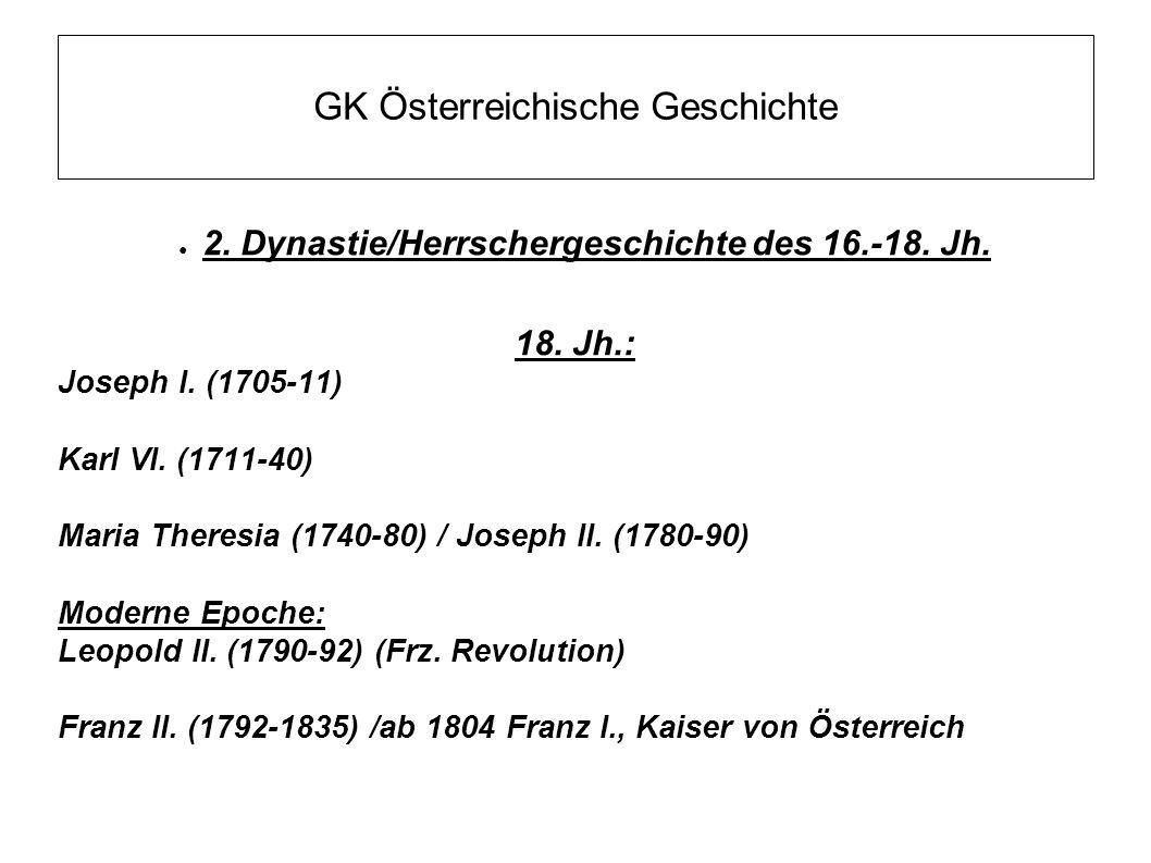 GK Österreichische Geschichte ● 2. Dynastie/Herrschergeschichte des 16.-18. Jh. 18. Jh.: Joseph I. (1705-11) Karl VI. (1711-40) Maria Theresia (1740-8