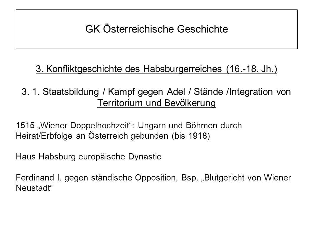 GK Österreichische Geschichte 3. Konfliktgeschichte des Habsburgerreiches (16.-18. Jh.) 3. 1. Staatsbildung / Kampf gegen Adel / Stände /Integration v