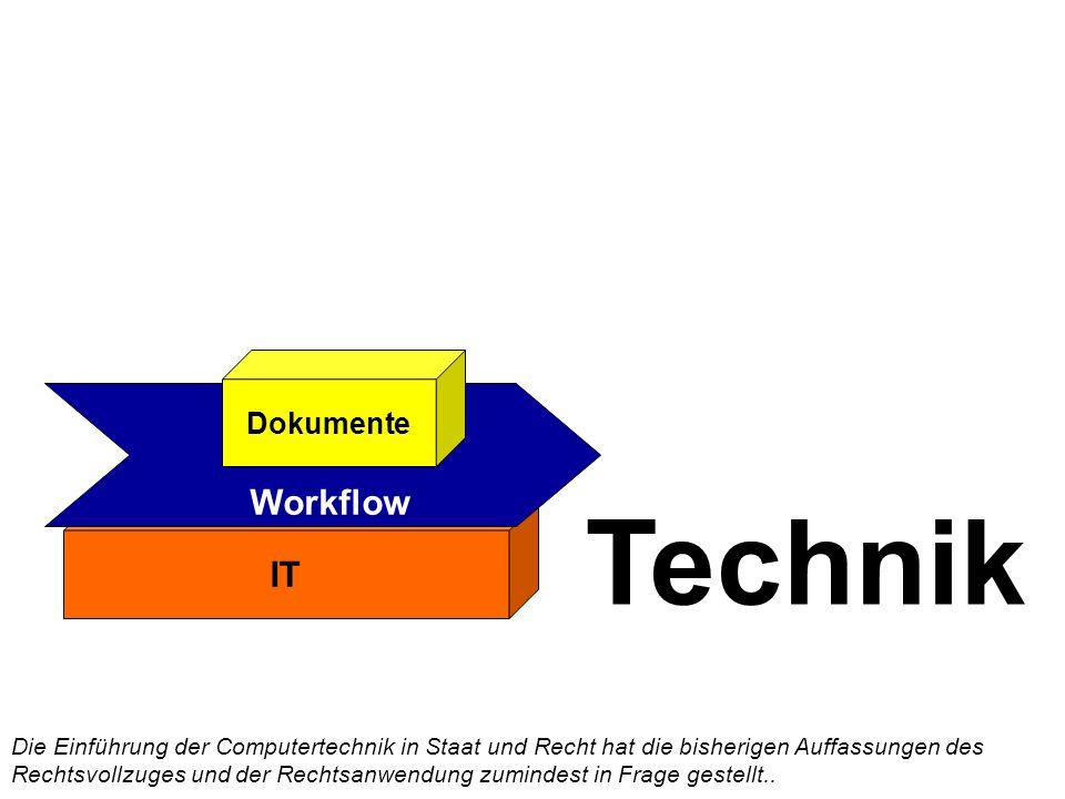IT Workflow Technik Dokumente Die Einführung der Computertechnik in Staat und Recht hat die bisherigen Auffassungen des Rechtsvollzuges und der Rechtsanwendung zumindest in Frage gestellt..