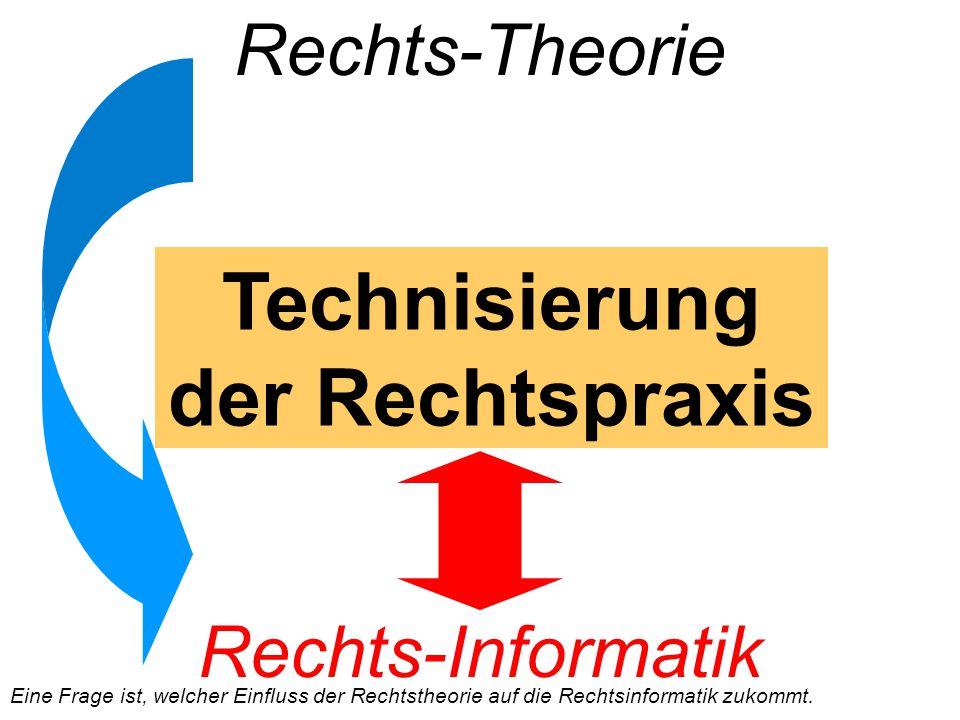 Rechts-Theorie Technisierung der Rechtspraxis Rechts-Informatik Eine Frage ist, welcher Einfluss der Rechtstheorie auf die Rechtsinformatik zukommt.