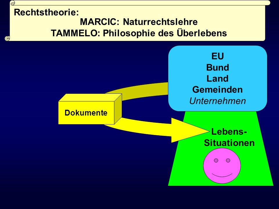 Lebens- Situationen Dokumente EU Bund Land Gemeinden Unternehmen Rechtstheorie: MARCIC: Naturrechtslehre TAMMELO: Philosophie des Überlebens