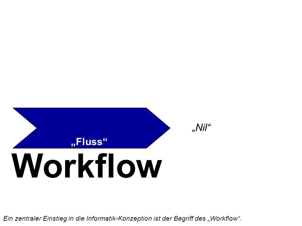 """Workflow """"Fluss """"Nil Ein zentraler Einstieg in die Informatik-Konzeption ist der Begriff des """"Workflow ."""