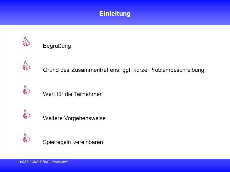 VOSS-CONSULTING, Ochsenfurt Einleitung  Begrüßung  Grund des Zusammentreffens, ggf. kurze Problembeschreibung  Wert für die Teilnehmer  Weitere Vo