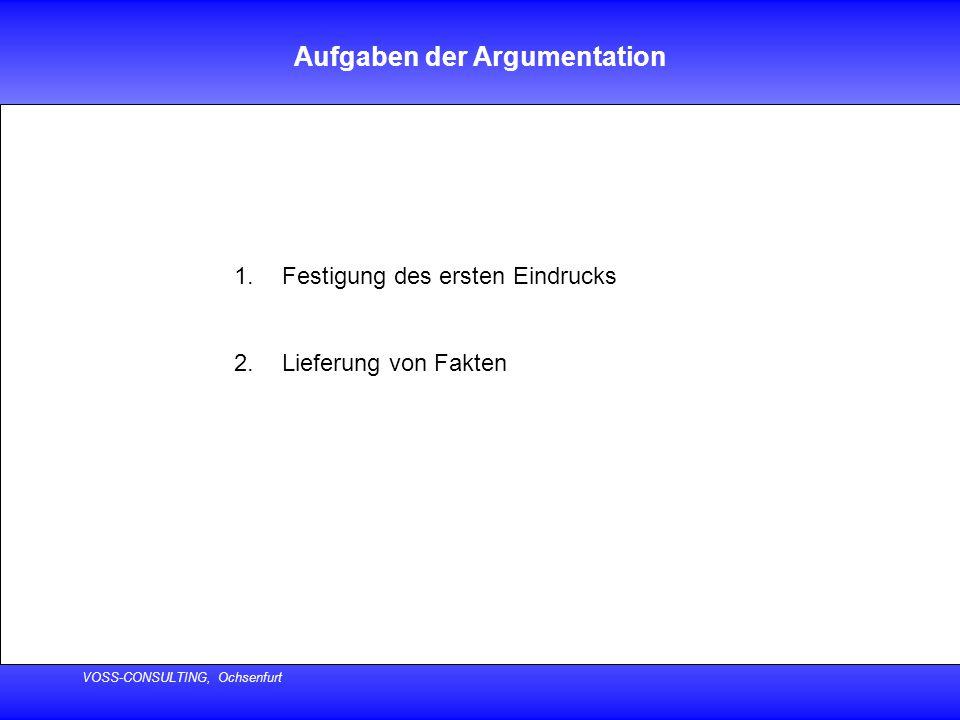 VOSS-CONSULTING, Ochsenfurt Aufgaben der Argumentation 1.Festigung des ersten Eindrucks 2.Lieferung von Fakten