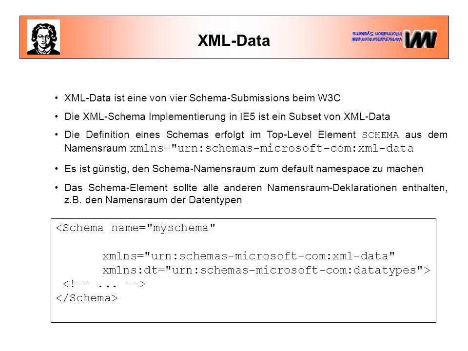XML-Data XML-Data ist eine von vier Schema-Submissions beim W3C Die XML-Schema Implementierung in IE5 ist ein Subset von XML-Data Die Definition eines Schemas erfolgt im Top-Level Element SCHEMA aus dem Namensraum xmlns= urn:schemas-microsoft-com:xml-data Es ist günstig, den Schema-Namensraum zum default namespace zu machen Das Schema-Element sollte alle anderen Namensraum-Deklarationen enthalten, z.B.