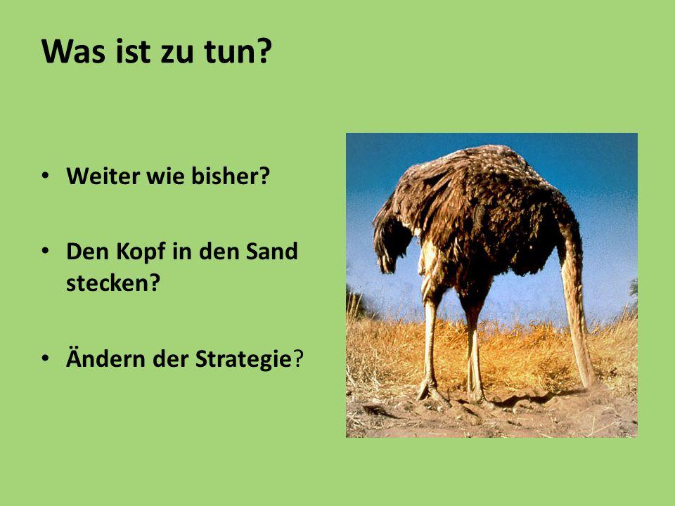 Was ist zu tun Weiter wie bisher Den Kopf in den Sand stecken Ändern der Strategie