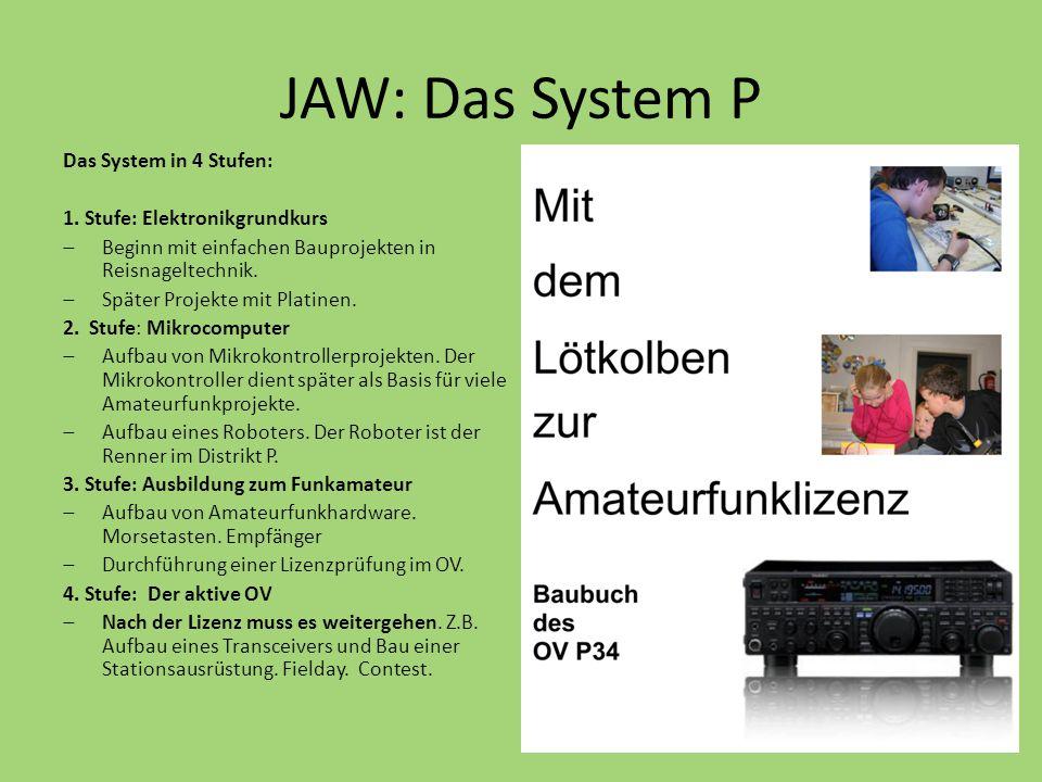 JAW: Das System P Das System in 4 Stufen: 1. Stufe: Elektronikgrundkurs  Beginn mit einfachen Bauprojekten in Reisnageltechnik.  Später Projekte mit