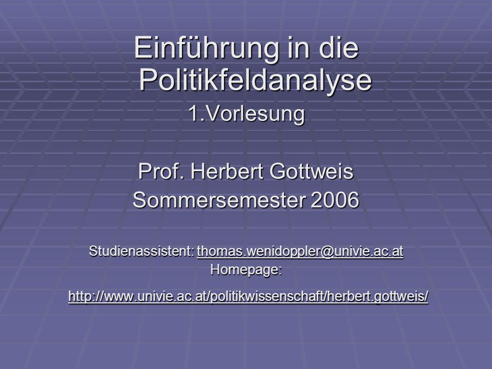 Einführung in die Politikfeldanalyse 1.Vorlesung Prof.