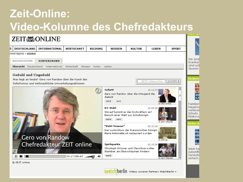 Zeit-Online: Video-Kolumne des Chefredakteurs