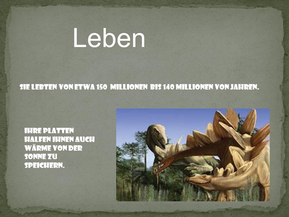 Leben Sie lebten von etwa 150 Millionen bis 140 Millionen von Jahren. Ihre platten halfen ihnen auch wärme von der sonne zu speichern.